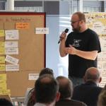 Marek Lange (SGD) präsentiert die Ergebnisse des Workshops